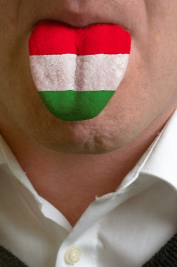 man tongue painted in hungary flag symbolizing to knowledge to s