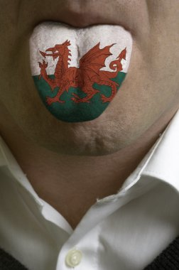 man tongue painted in wales flag symbolizing to knowledge to spe