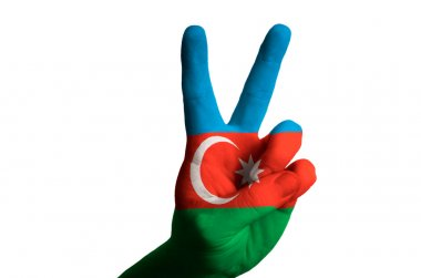 azerbaijan national flag two finger up gesture for victory and w