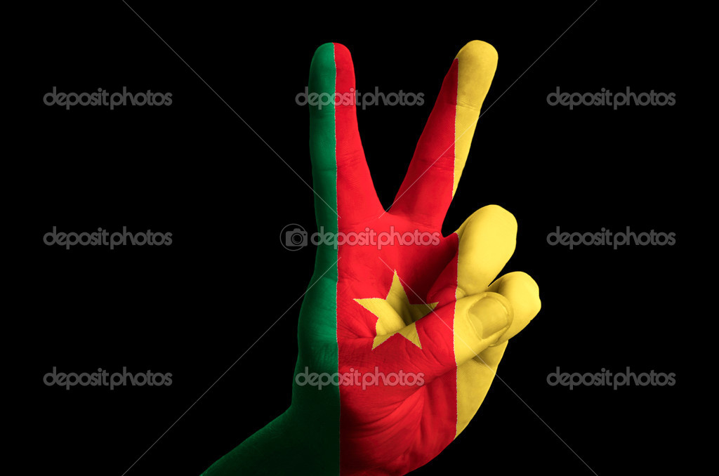 Cameroon National Flag Two Finger Up Gesture For Victory And Win