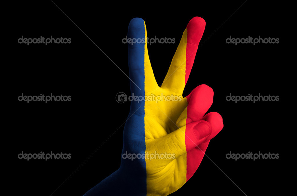 Romania National Flag Two Finger Up Gesture For Victory And Winn
