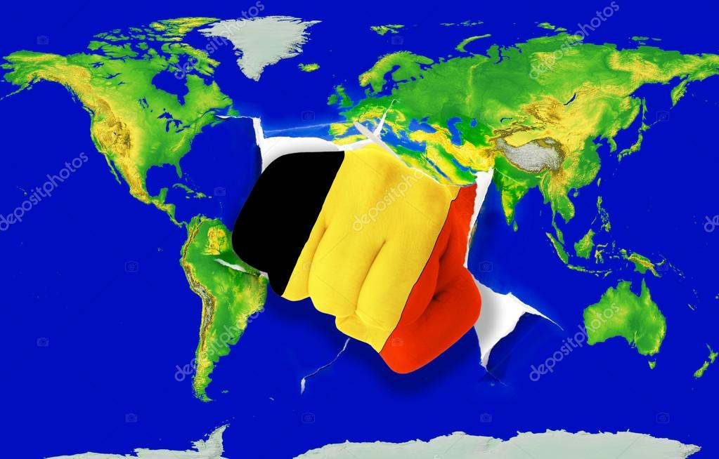 Fist In Color National Flag Of Belgium Punching World Map U2014 Stock Photo