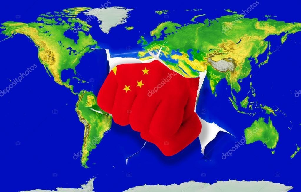 china mapa mundi puño en color de la bandera nacional de china perforación  china mapa mundi