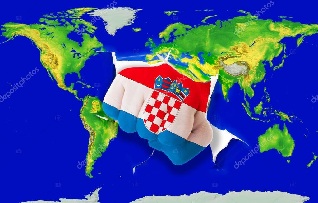 croacia mapa mundo puño en color de la bandera nacional de Croacia mapamundi de  croacia mapa mundo