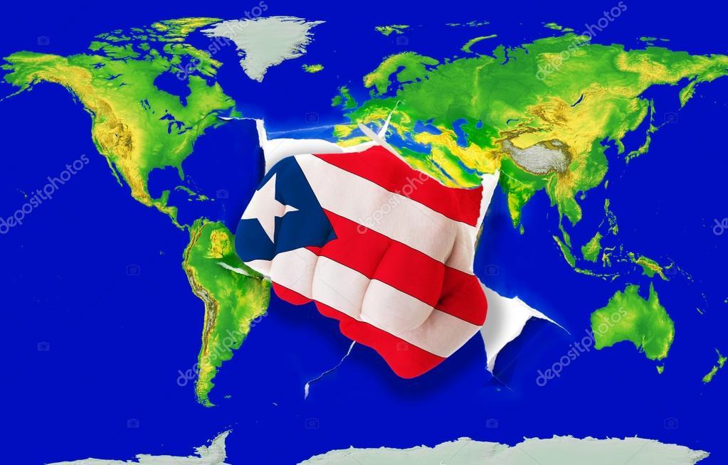 Puerto Rico Mapa Mundi.Puerto Rico Mapa Mundi Puno En Color De La Bandera