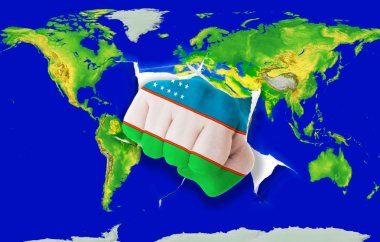 Fist in color national flag of uzbekistan punching world map