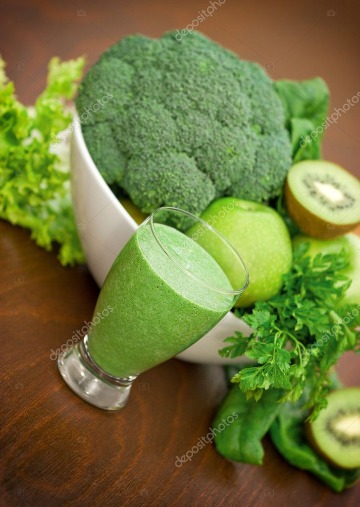 Green smoothie, green fruits and green vegetables