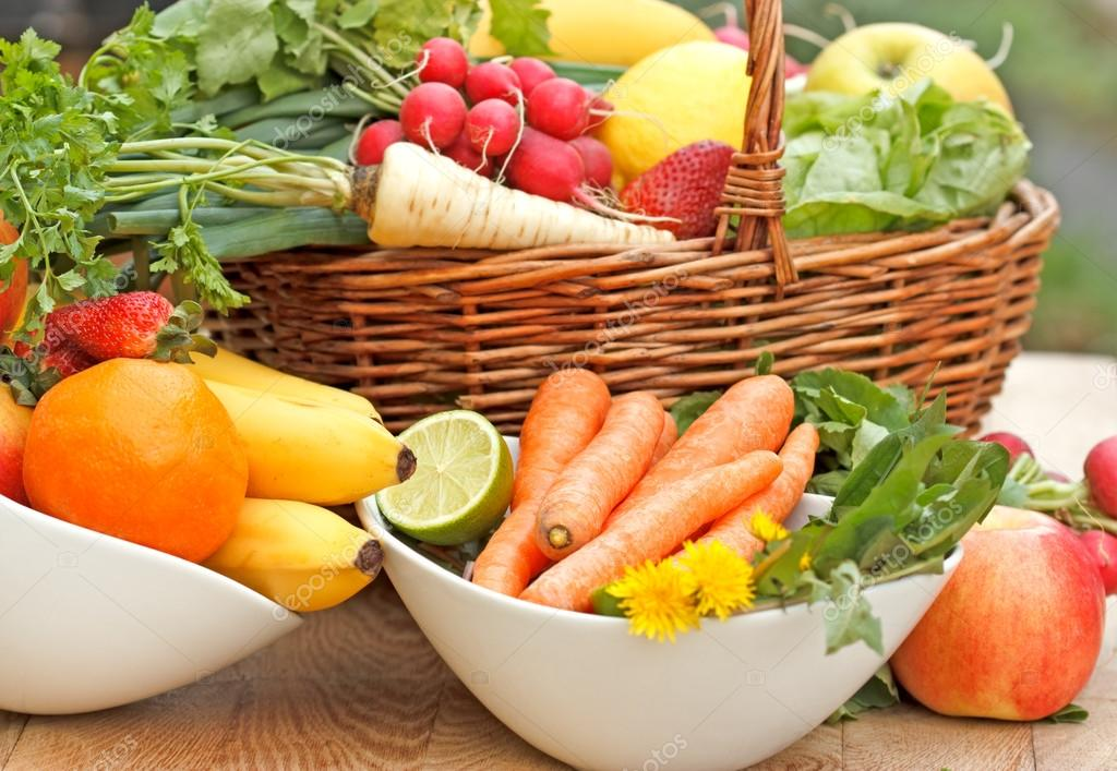 Vitamins of fresh fruits and vegetables of the spring