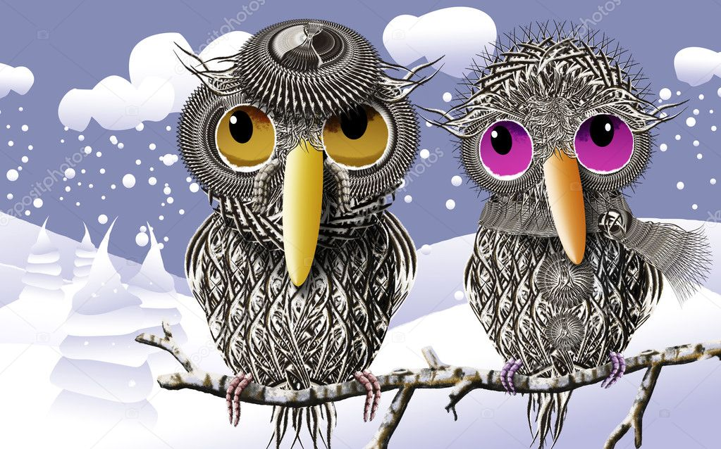 Lovebirds Keeping Warmth In Winter