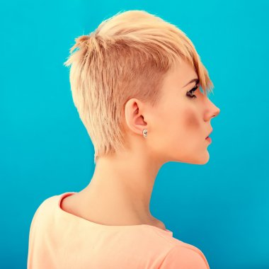 woman with short stylish hairstyle