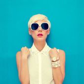 Photo Fashion portrait of sensual stylish girl