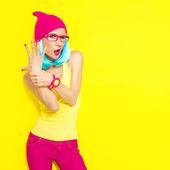 Fotografie portrait of funny stylish girl