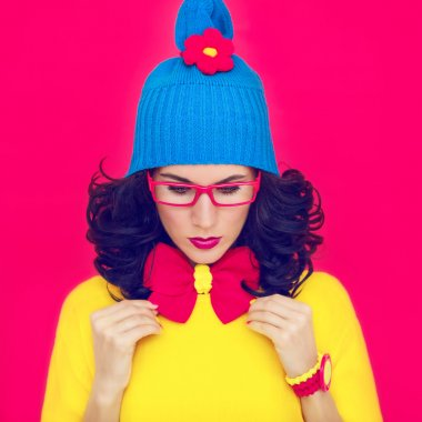 Colorful portrait funny girl with a bow
