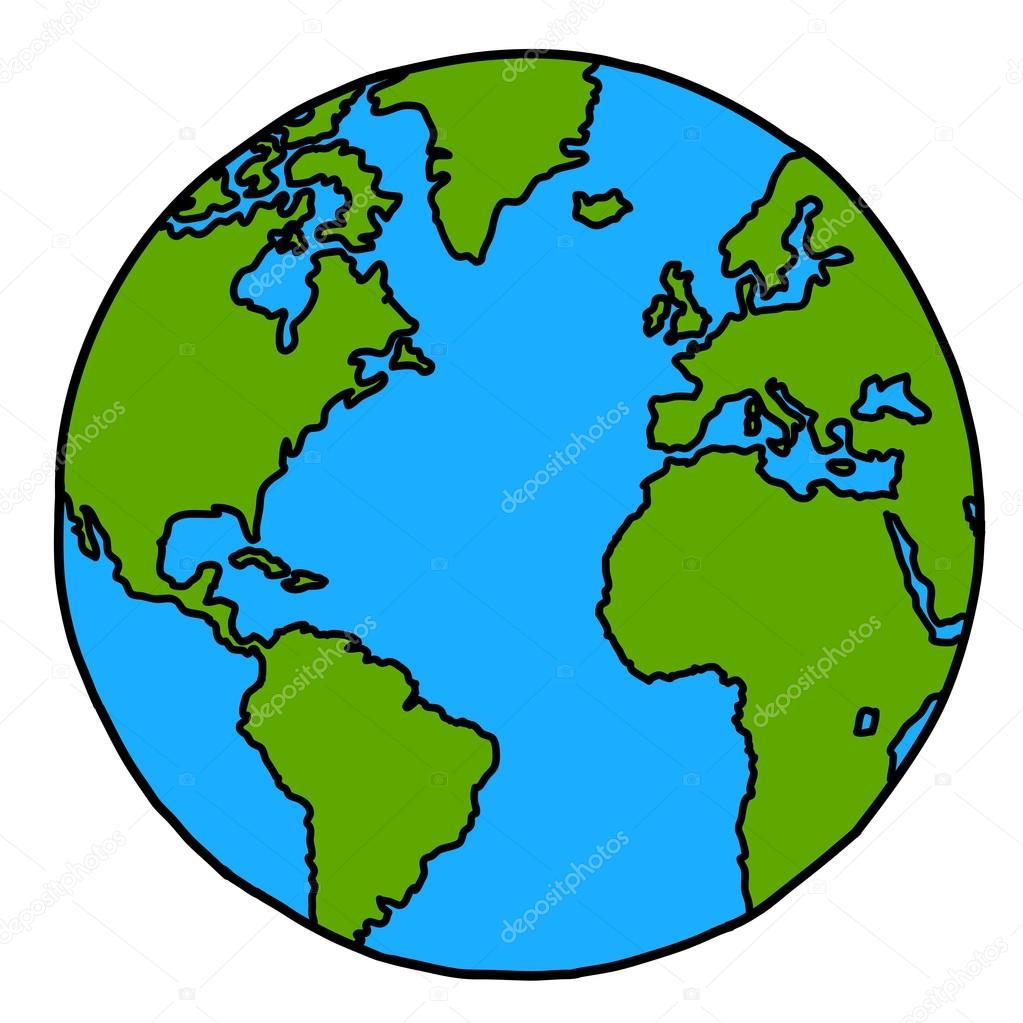 Planète Terre Main écrit Dessin Animé Crédit Nasa