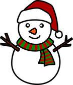 Vánoční sněhulák ruční psaní kreslený