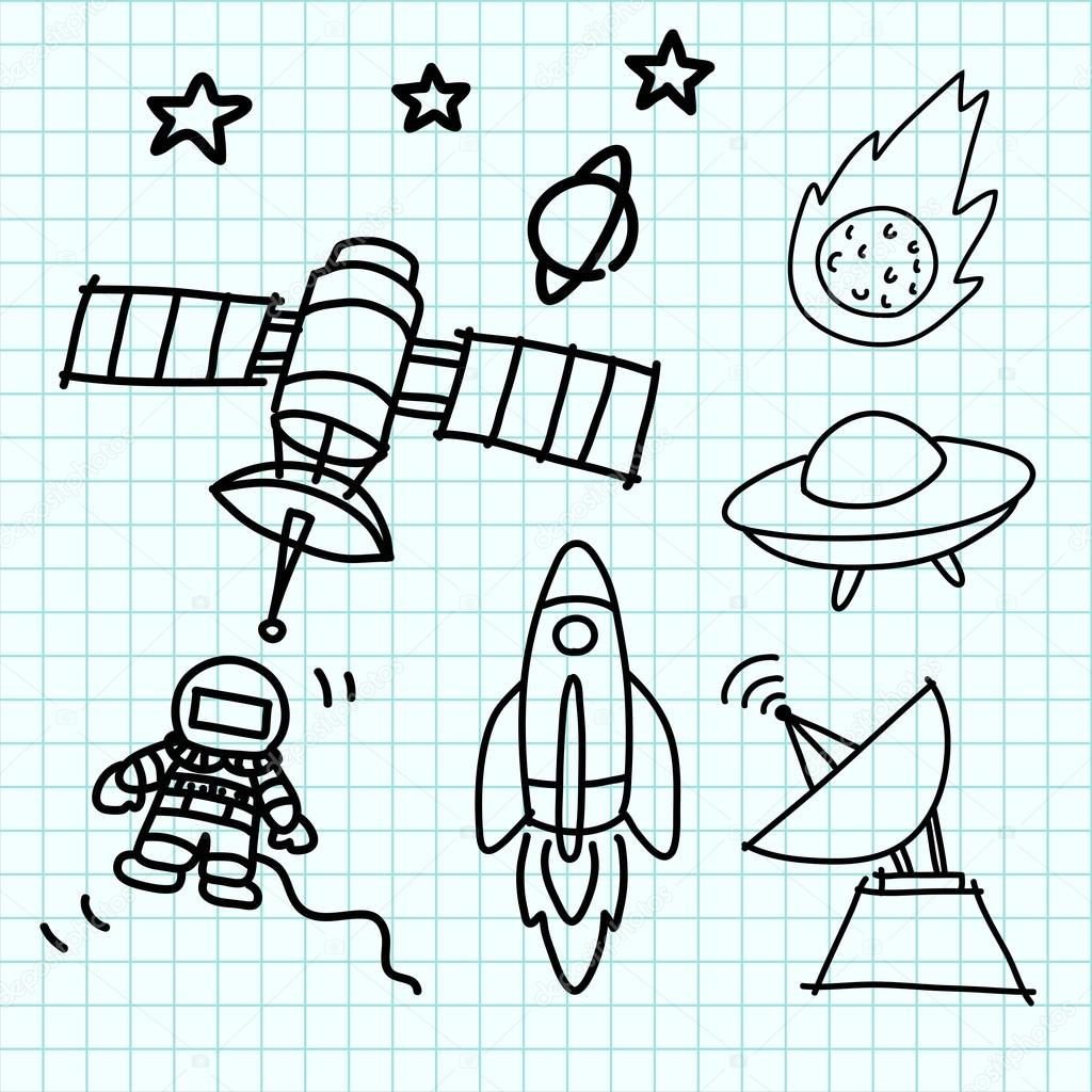 space set hand draw on graph paper stock vector kanate 14443373