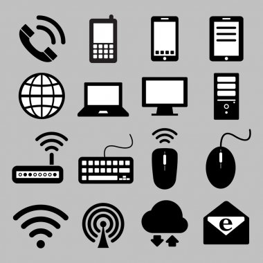 Icon set of mobile devices, computer and network connections