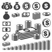 Fotografie peníze a mince sady ikon