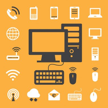 Mobile devices , computer and network connections icons set. Ill