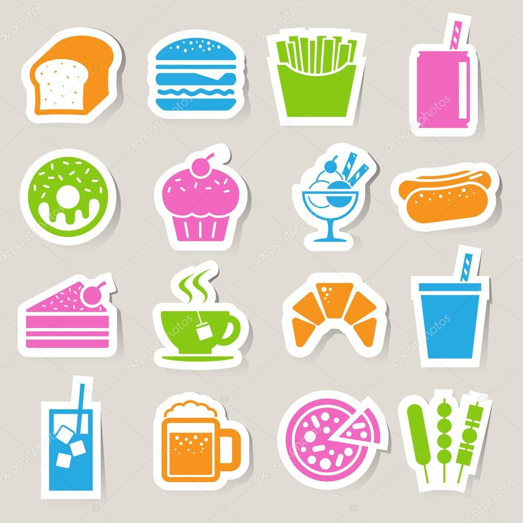 Fast Food sticker icon set