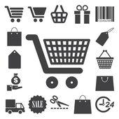 Nakupování ikony nastavit. ilustrace