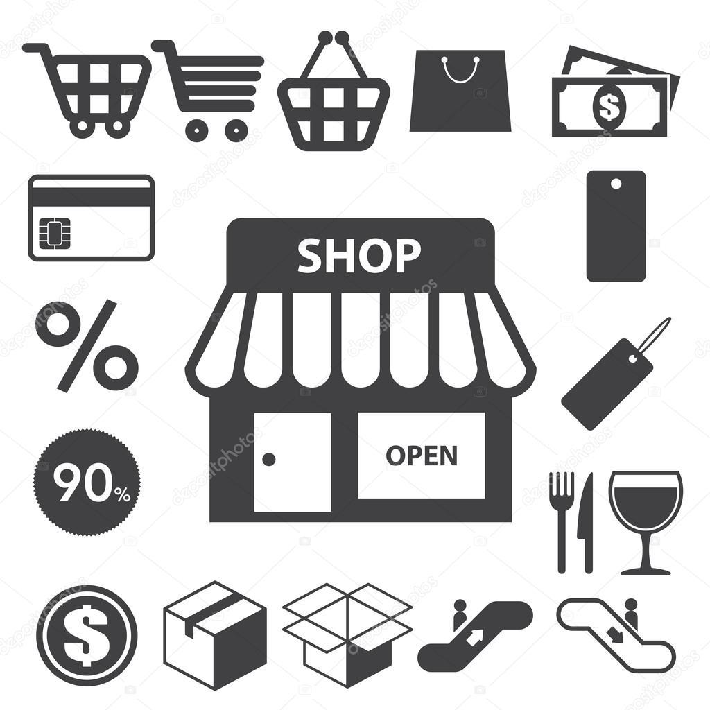 Shopping icons set. Illustration