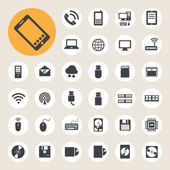 Sada ikon síťových připojení, mobilní zařízení a počítače