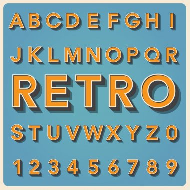 Retro type font, vintage typography ,Illustratiom EPS10 stock vector