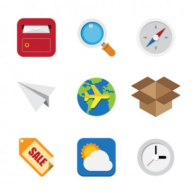 Business and interface flat icons set. Elements of this image furnished by NASA stock vector