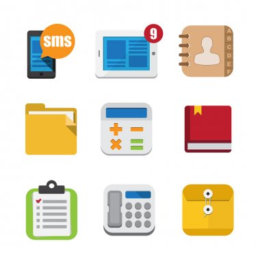 Business and interface flat icons set, Illustration