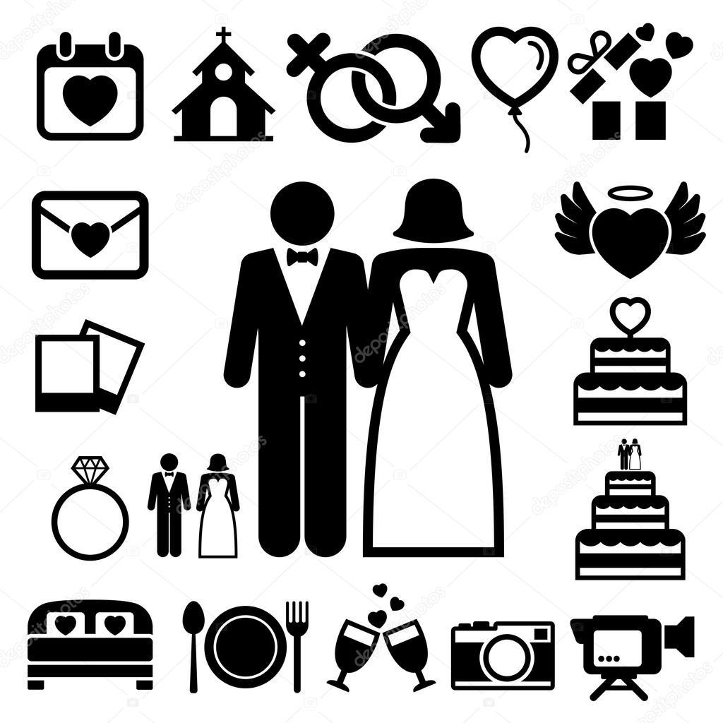 Hochzeit Symbole Gesetzt Stockvektor C Kanate 39148825