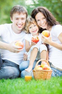 Family drinking apple juice