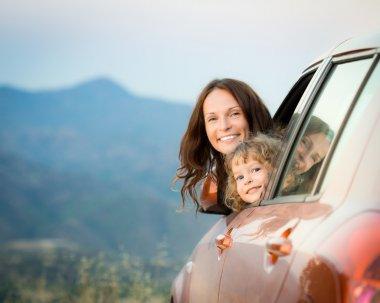 Happy family travel in car
