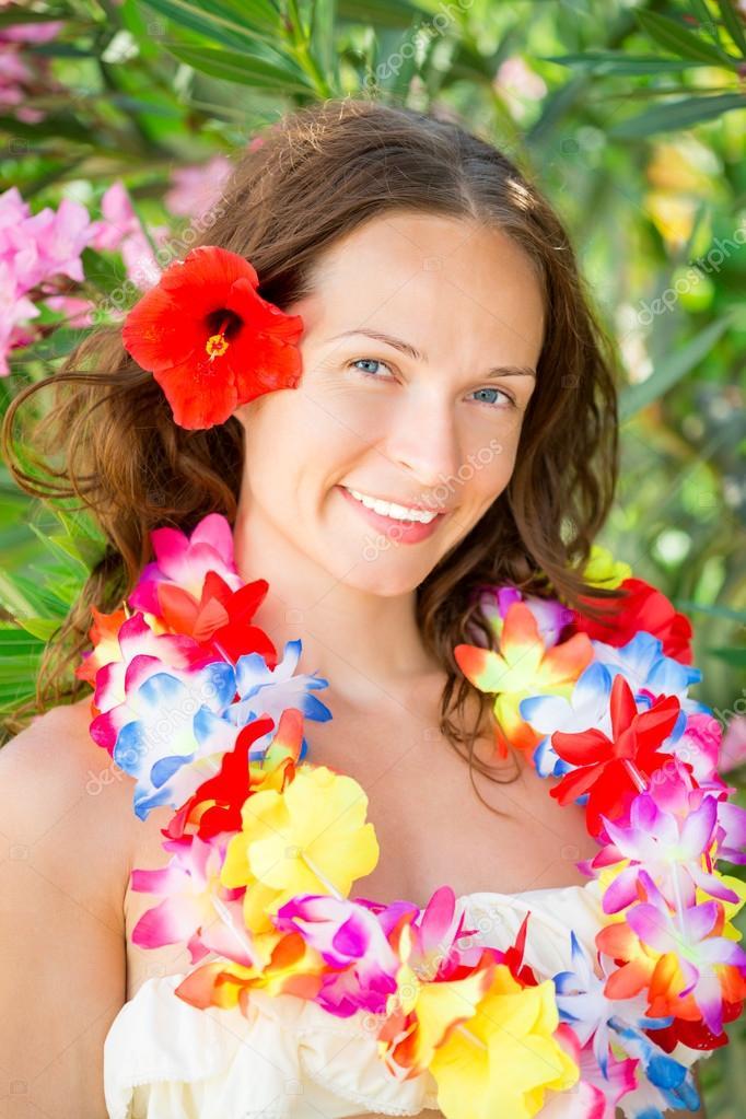 Frau In Hawaii Blüten Girlande Stockfoto Yaruta 24242753