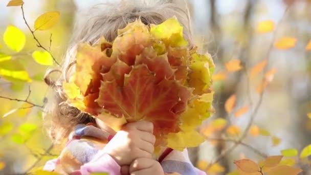 holčička drží banda podzimní listí