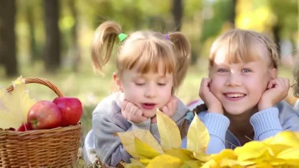 Skupina šťastných dětí hrát venku v podzimním parku. Dolly zastřelil