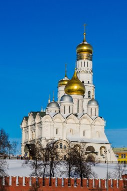 Moscow Kremlin Archangel Cathedral And Ivan The Great Bell Tower In Winter