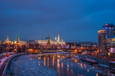 Moscow Kremlin And Reflections In Moscow River In Winter