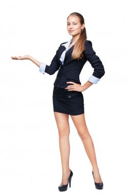 Full length portrait of a young beautiful business woman shows s
