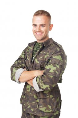 Smiling army soldier with his arms crossed isolated on white background stock vector
