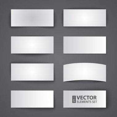 Set of blank paper banners with shadows on gray background