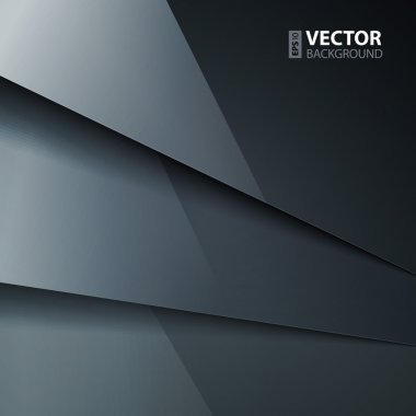 Abstract vector background with dark gray metal layers.