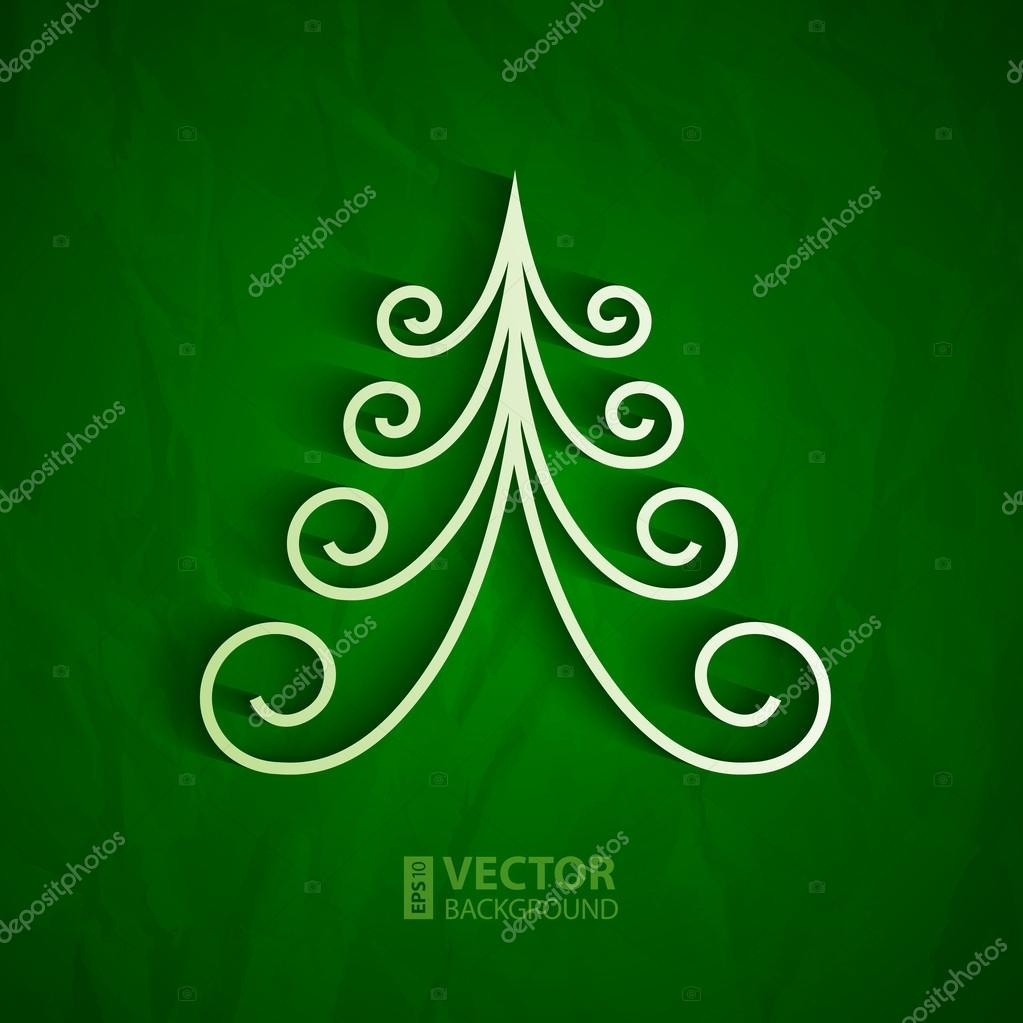 rbol de Navidad 3d blanco sobre fondo verde papel Archivo