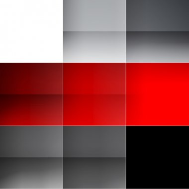 Gray and red squares abstract background