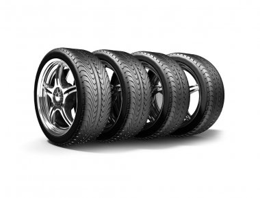 :Wheels isolated on white. 3d illustration.
