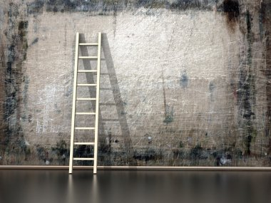 Dirty grunge wall with wooden ladder