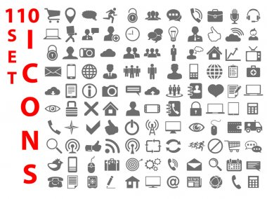110 Universal flat Icons for Web, Mobile, business, finance and communication stock vector