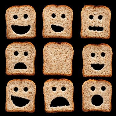 Bread slices with happy sad and other facial expressions - isolated on black stock vector