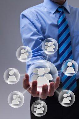 Businessman using social networking
