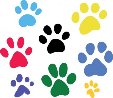 Set of vector colored paw prints